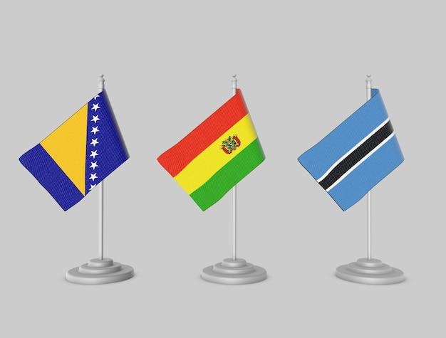 Flaggensammlung - bosnien, bolivien, botswana Premium Fotos