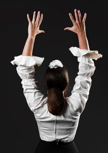 Flamencatänzer der hinteren ansicht mit den armen oben Kostenlose Fotos
