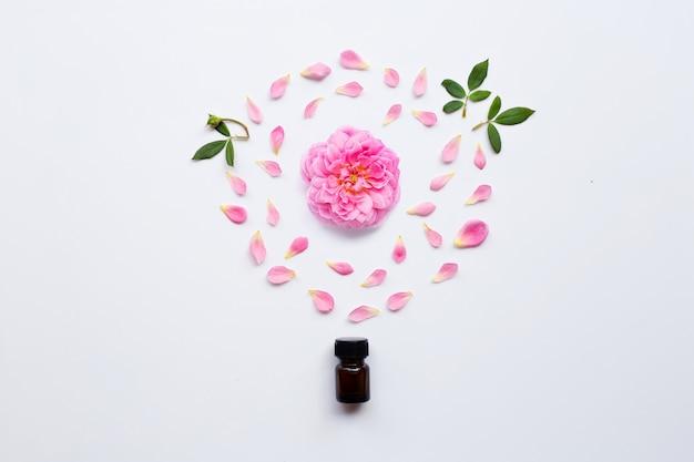 Flasche rosafarbenes ätherisches öl für aromatherapie auf weiß Premium Fotos