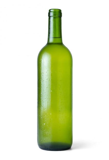 Flasche sehr kalter weißer wein frisch vom kühlraum mit weiß Premium Fotos