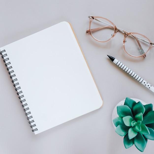 Flat lay von minimalen Arbeitsplatz Schreibtisch mit Notebook, Brillen und grüne Pflanze, kopieren Raum Kostenlose Fotos