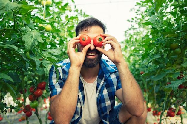 Fleißiger bauer, der dumme gesichter mit tomatengemüse im garten macht Kostenlose Fotos