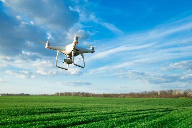 Fliegende drohne über dem weizenfeld Premium Fotos