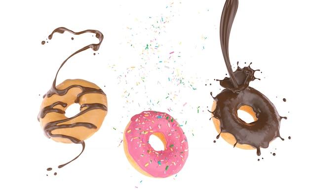 Fliegender donut mit zucker besprüht und schokoladenspritzen Premium Fotos