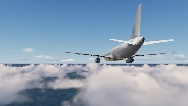 Flugzeuge mit wolkenblauem himmel Premium Fotos