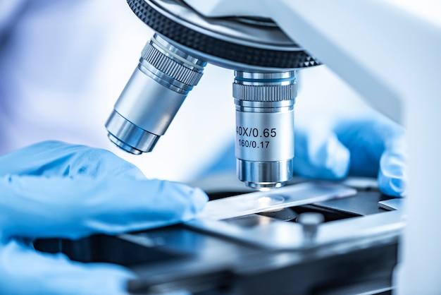 Forscher arbeiten mit mikroskopen Premium Fotos