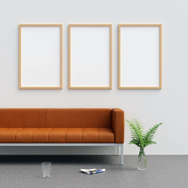 Frame mockup im wohnzimmer mit dekorationen Premium Fotos