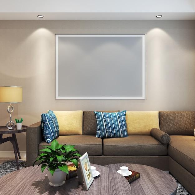 Frame mockup im wohnzimmer mit möbeln Premium Fotos