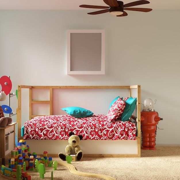 Frame mockup in kinder schlafzimmer Premium Fotos