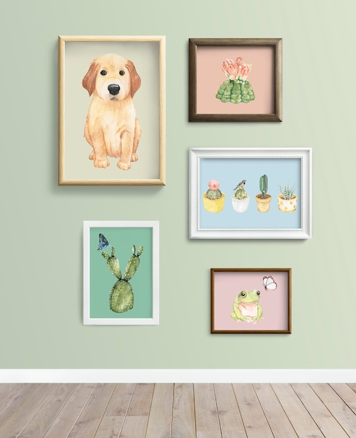 Frames an einer grünen wand Premium Fotos