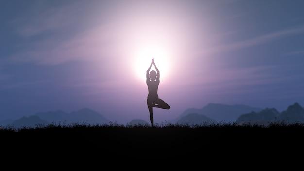 Frau 3d in der yogahaltung gegen eine sonnenunterganglandschaft Kostenlose Fotos