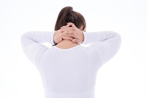 Frau, die unter nacken- und rückenschmerzen leidet Premium Fotos