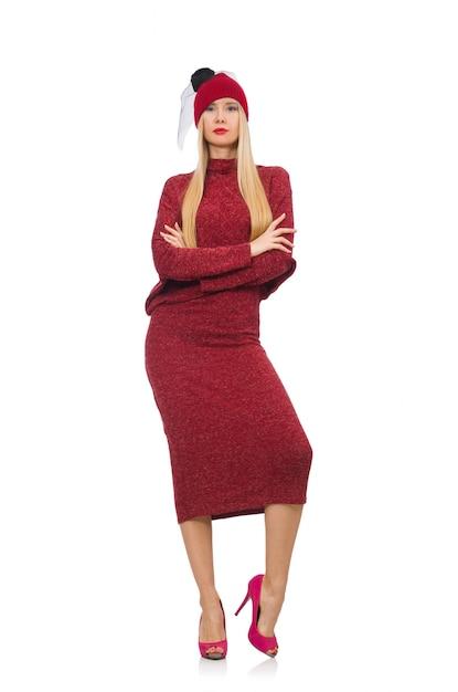 Frau im bordo kleid getrennt auf weiß Premium Fotos