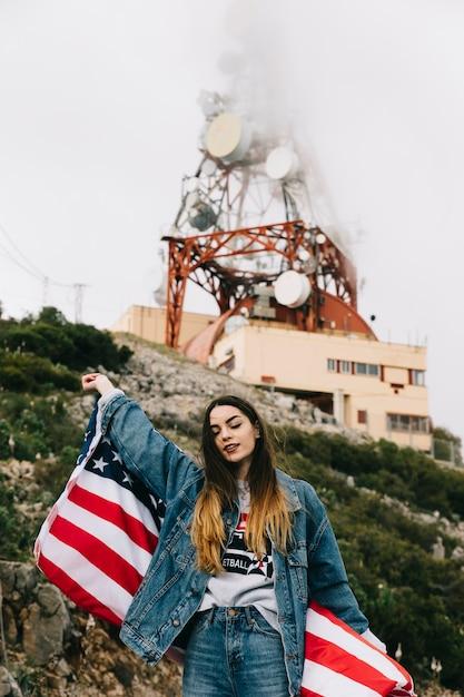 Frau mit amerikanischer flagge Kostenlose Fotos