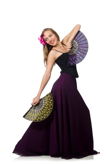 Frau mit den fan-tanzentänzen lokalisiert Premium Fotos