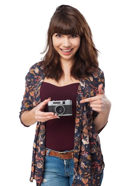 Frau mit Fotos einer Selbstbefriedigungsucht