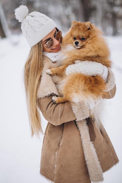 Frau Mit Hund Im Po