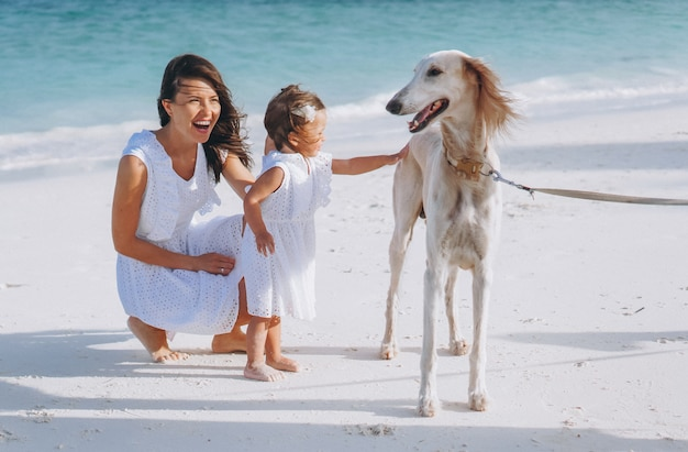 Frau mit ihrer kleinen tochter, die mit hunden am strand durch den ozean spielt Kostenlose Fotos