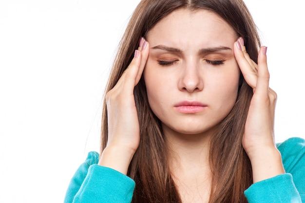 Frau mit kopfschmerzen, Premium Fotos