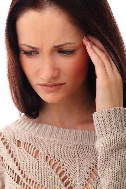 Frau mit stress oder kopfschmerzen Kostenlose Fotos