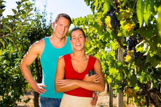 Frau und mann stehen im weinberg Premium Fotos