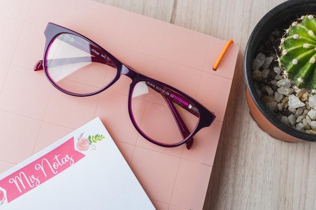 Frauengläser mit planer und anlage Premium Fotos