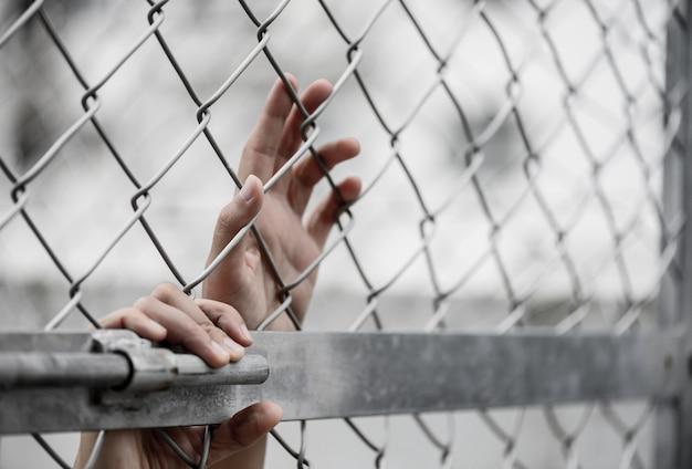 Frauenhand, die an kettengliedzaun für erinnert, erinnern sich am tag der menschenrechte tag. Premium Fotos