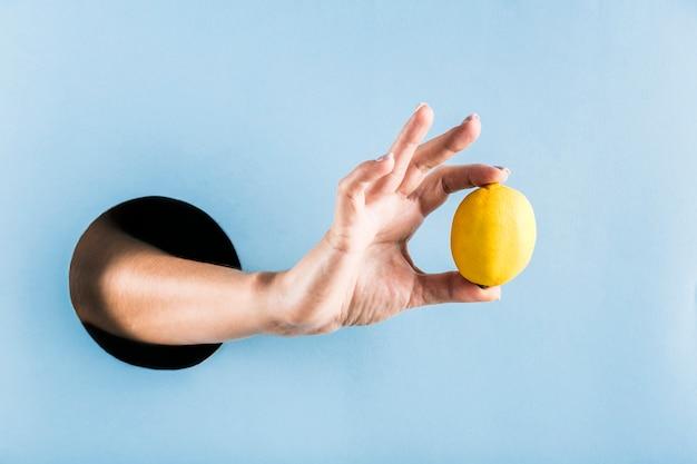 Frauenhand hält eine zitrone aus einem schwarzen loch in einer blauen papierwand. Premium Fotos