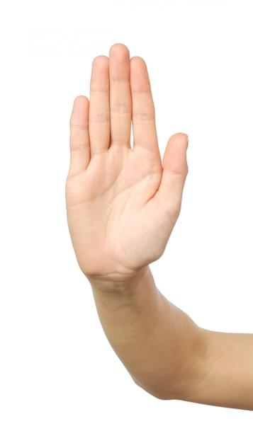 Frauenhand mit stoppgeste Premium Fotos