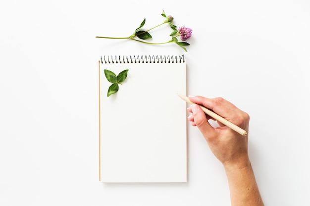 Frauenhandschrift auf einem leeren notizbuch Premium Fotos