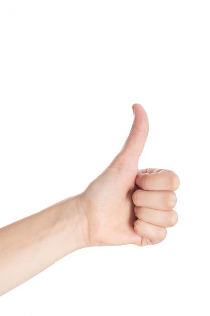 Frauenhandshowdaumen herauf gestenisolat auf einem weißen hintergrund Premium Fotos