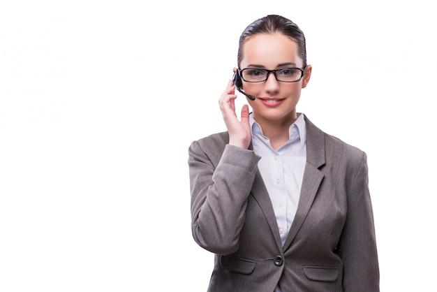 Fraueninformationsschalterbetreiber lokalisiert auf weiß Premium Fotos