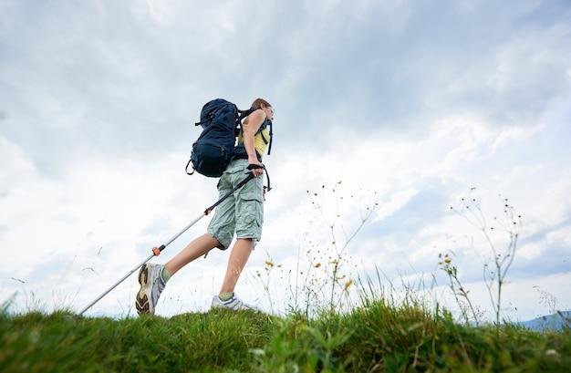 Frauenwanderer, der auf grasartigem hügel, tragender rucksack, unter verwendung der wanderstöcke in den bergen wandert Premium Fotos