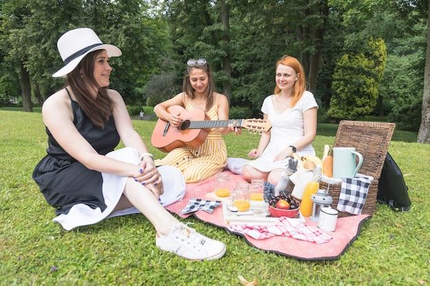 Freunde, welche die musik auf picknick im park genießen Kostenlose Fotos