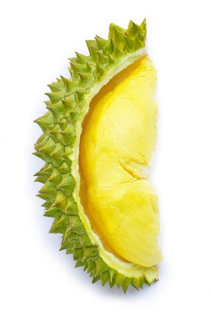 Frischer reifer schnitt durian auf weiß. Premium Fotos