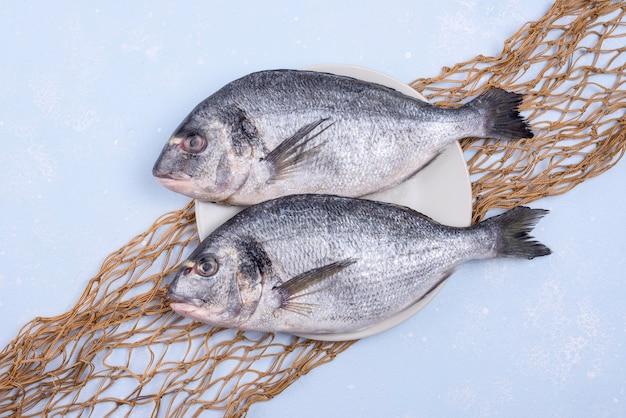 Frischer ungekochter fisch mit fischnetz Premium Fotos