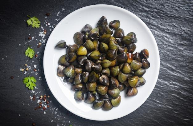 Frischwassermuschel der shijimi-schalentiere wie muscheloberteil auf weißer platte mit kräutern und gewürzen auf dunkelheit Premium Fotos