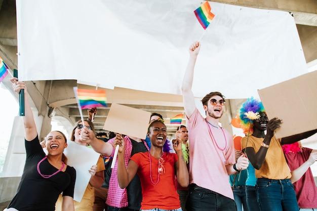 Fröhlicher gay pride und lgbt festival Premium Fotos