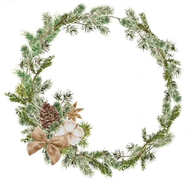 Frohe weihnachten kranz komposition mit tannenzweigen, baumwolle, anis blume, bogen und kegel. winter runder rahmen Premium Fotos