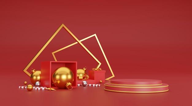 Frohe weihnachten und ein frohes neues jahr hintergrund mit festlicher dekoration und kopierraum. 3d-illustration Premium Fotos