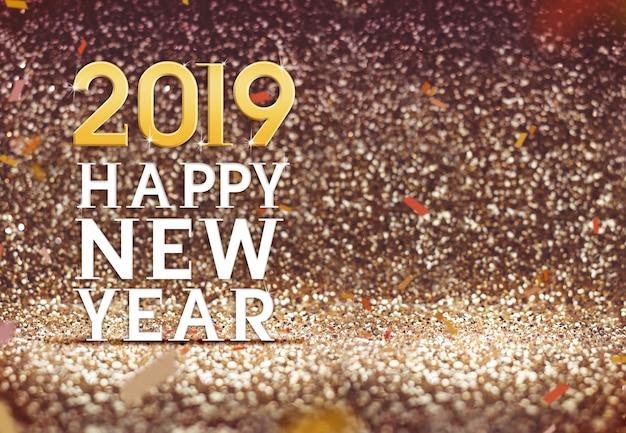 Frohes neues jahr 2019 im goldfarbzusammenfassungs-funkelnhintergrund Premium Fotos