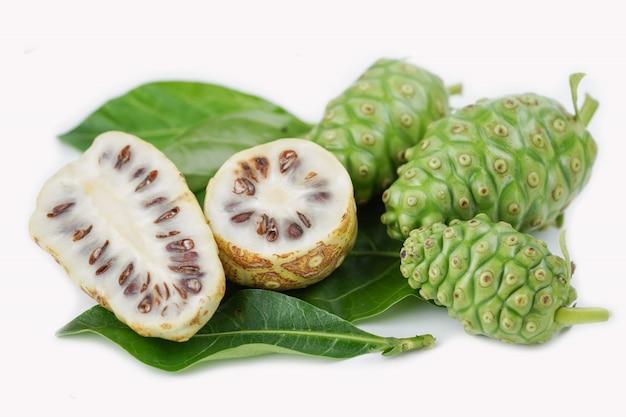Früchte von noni oder morinda citrifolia Premium Fotos