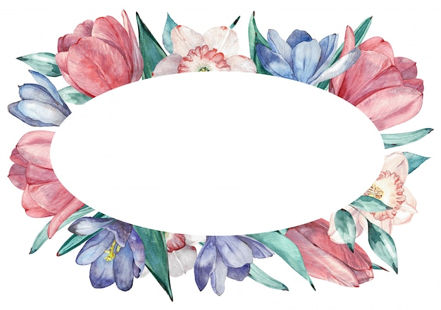 Frühling blüht rahmen in der aquarellart mit weißem hintergrund Premium Fotos