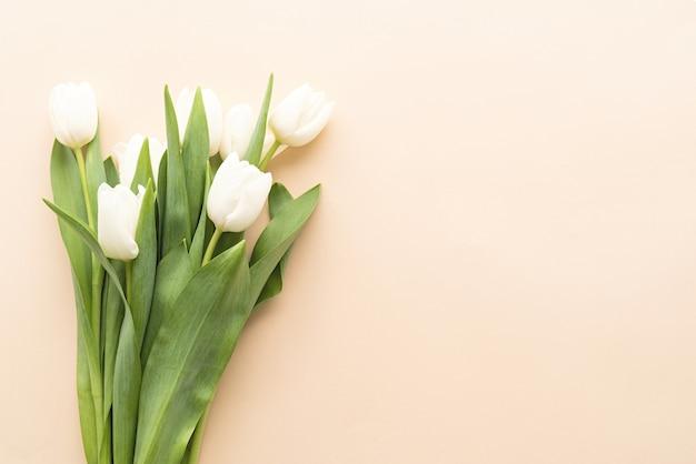 Frühlingskonzept. weißer tulpenstrauß auf pastellhintergrund mit kopienraum Premium Fotos