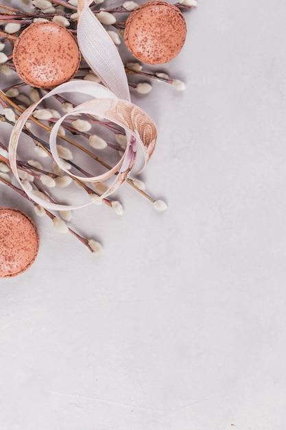Frühlingsoberfläche mit ein paar weidenkätzchenzweigen Premium Fotos