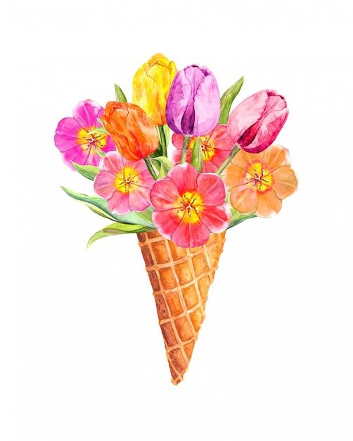 Frühlingstulpenblumen im eiscremekegel. blumenaquarell Premium Fotos