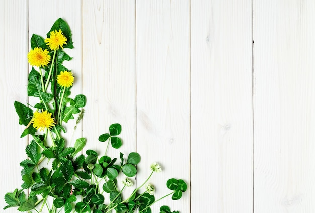 Frühlingswildblumen auf einer weißen holzoberfläche Kostenlose Fotos