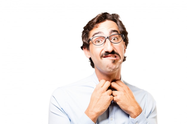 Frustrierter mann mit den händen am hals Kostenlose Fotos
