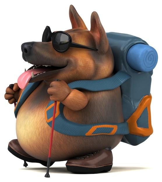 Fun backpacker deutscher schäferhund cartoon charakter Premium Fotos