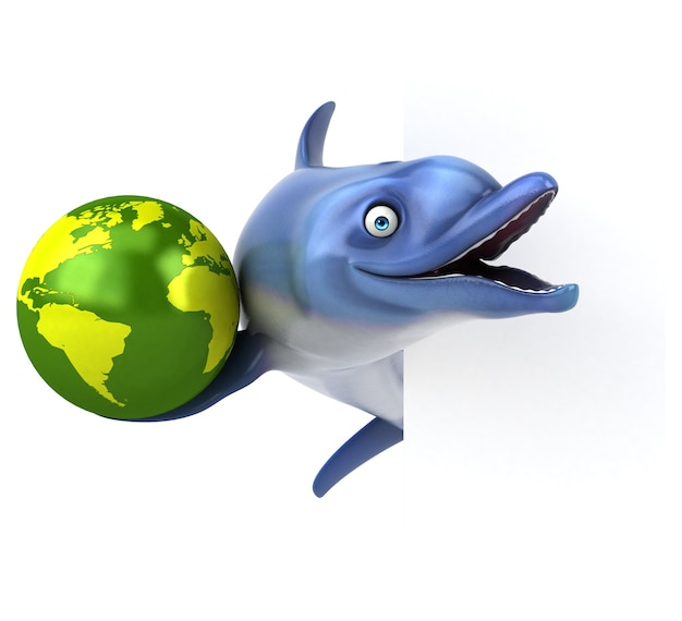 Fun dolphin - 3d-illustration Premium Fotos